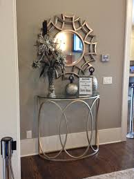 table for entryway. Luxury Stainless Steel Halfmoon Table Entryway With Stylich Round Mirror For N