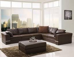 elegant l shaped brown leather sectional couches with medium ottoman for living room furniture idea