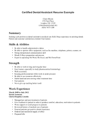 Professional Summary Skills And Abilities And Strength Dental