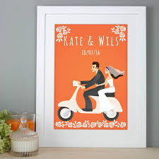 personalised gift wedding couple on scooter print