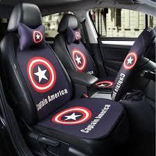 cartoon car seat protector covers sets linen four season headrest neck support auto seat waist cushion