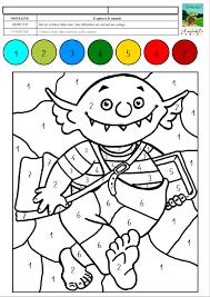 Le Petit Ogre Veut Aller L Cole Coloriage Magique Avec Des