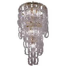 angelo mangiarotti style chandelier murano glass chain link gilt frame italian for