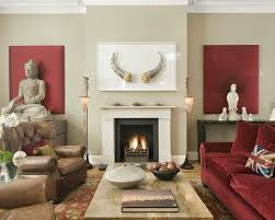 Red Beige Paint | Color Combination | Living Room Ideas | Buddha Decor |  Home Decorating