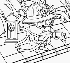 Minions In Firefighter Costume Coloring Page