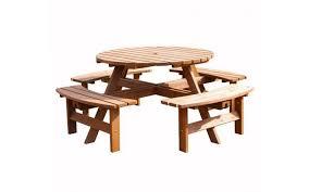 westwood outdoor garden 8 seater wooden pub bench round table brown pt1303 garden woodpicnictable pt1303 brn mgt0001 jpg