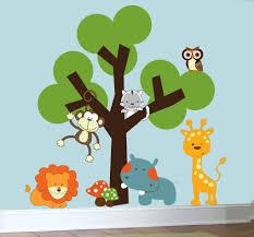 Childrens nursery decals animal jungle wall art vinyl wall tree ...
