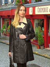 higgs leathers plus sizes half sophie las black and ivory leather coat at uk