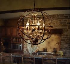 image of rustic large metal orb chandelier
