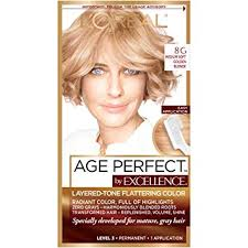 L Oreal Excellence Age Perfect Colour Chart Loreal Paris Excellenceage Perfect Layered Tone Flattering Color 8g Medium Soft Golden Blonde Packaging May Vary