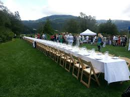 amzing outdoor long dining table for garden party with