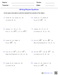 writing equations of ellipses worksheets