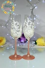 rose gold champagne flutes wedding glasses pink toasting hand painted lace favor pearls glass asda rose gold champagne flutes