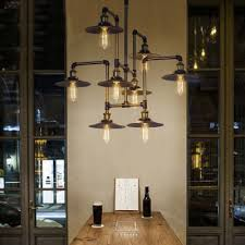 industrial bar lighting. Industrial Style 8 Light Large LED Pendant Chandelier Commercial Coffee Bar  Lighting Fixture Industrial Bar Lighting E