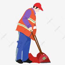 Sanitation Worker Job Description Hand Drawn Cartoon Sanitation Worker Cleaning Elements