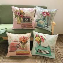 pillow radio. vintage decorative pillows home decor cotton linen flower telephone radio camera print woven sofa cushion covers pillow