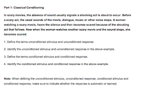 Example Of Classical Conditioning Solved Part 1 Classical Conditioning In Scary Movies Th