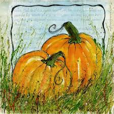 pumpkins painted in watercolor on gesso on old book pages and splattered with acrylic paint