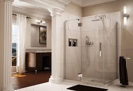 frameless pivot shower door enclosure with intelligent heavy duty hardware fleurco line