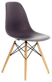 A DSW Gray Mid Century Modern Plastic Dining Shell Chair Wood Eiffel Legs