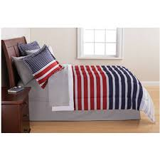 mainstays grey blue stripe bed in a bag comforter bedding flat sheet pillowcases