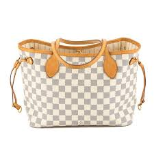 louis vuitton neverfull white. louis vuitton damier azur canvas neverfull pm bag (pre owned) - 3747016 | luxedh white