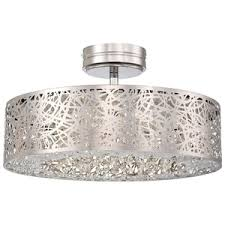 semi flush mount ceiling lights. KP985077L Hidden Gems Semi Flush Mount Ceiling Light - Chrome Lights