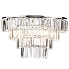 prism 4 tier crystal flush ceiling light chrome glass free delivery