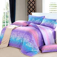 teal blue purple and pink western paisley graffiti print abstract design full queen size color bedding baby