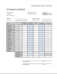 Biweekly Time Card Template Biweekly Time Sheet With Sick Leave And Vacation