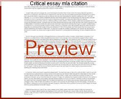 Critical Essay Mla Citation Custom Paper Writing Service