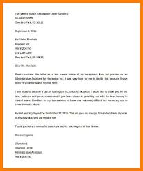 two week resignation letter sample two weeks notice resignation letter sample word format