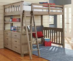 image of loft bed with desk on top and ladder