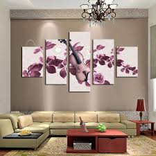 unframed 5 panels purple flowers and violin print painting modern canvas wall art for wall decor on canvas wall art purple flowers with unframed 5 panels purple flowers and violin print painting modern
