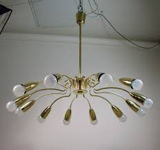 vintage italian 12 light brass sputnik chandelier 1950s