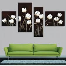 4 pcs set no framed black and white oil painting abstract tulip flower decorative wall on black and white tulip wall art with 4 pcs set no framed black and white oil painting abstract tulip