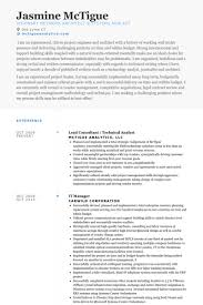 lead consultant technical analyst resume samples technical analyst resume