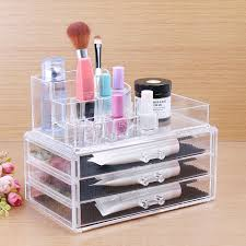 acrylic cosmetic 3 drawer semicircle make up jewelry storage large organizer 8803 1