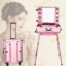 to singapore msia and other asia countries pink aluminium trolley cosmetic case with lights mirror and