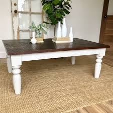 white farmhouse coffee table rustic distressed wooden furniture