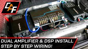 car audio wiring dual amplifier and dsp install youtube how to wire a car stereo from scratch at Car Audio Wiring