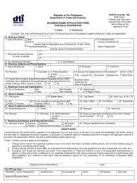 Dti Bn Application Form For Sole Proprietor Form No 16a
