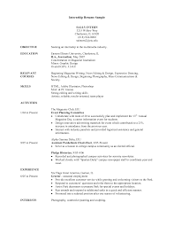Sample College Student Resume For Internship Template For Student