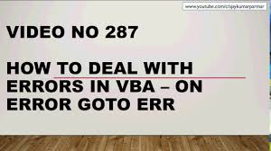 Learn Excel Video 286 Vba Errors Discussion On Error Goto