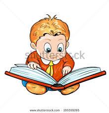 cartoon children reading a book