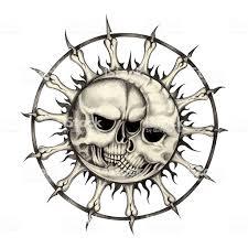 Arte Del Tatuaggio Teschio Luna E Sole Immagini Vettoriali Stock E