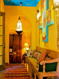Classic Unfinished Wooden Kitchen Benches Also Antique Lantern Lamps As  Well As Yellow Wall Spanish Style Kitchen Color Schemes