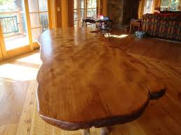 interior finished pine dining room table rustic sets shiny brown eased edge profile marble top minmalist