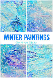 'Tis the season for winter themes in preschool, and these mixed medium  winter paintings