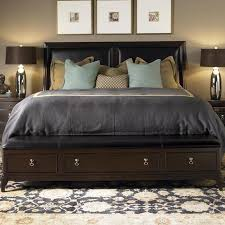king bed leather headboard. Exellent Headboard Kincaid Furniture Alston King Bed With Leather Upholstered Headboard U0026  Storage Bench Footboard  AHFA Dealer Locator And B